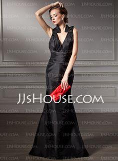Mermaid V-neck Sweep Train Taffeta Bridesmaid Dresses With Ruffle (007004214) - JJsHouse.com