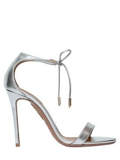 "aquazzura - femme - sandales - sandales ""dasha"" en cuir métallisé 105mm"