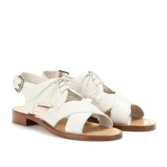 Miu Miu Aviator Leather Sandals (19.925 RUB) ❤ liked on Polyvore featuring shoes, sandals, flats, leather flat shoes, miu miu shoes, genuine leather shoes, cream shoes and flats sandals