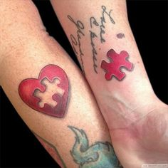 The Missing Puzzle Matching Tattoos For Married Couples ❥❥❥ http://bestpickr.com/matching-couples-tattoos