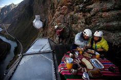 Skylodge Sacred Valley Overnight Adventure Skylodge Adventure suites is a new adventure alternative designed to live the experience full of adrenaline in the middle of impressive views. Handcrafted out of aerospace aluminum and weather resistant polycarbonate, the 3 Skylodge capsules are hung in the mountain 400 meters from the ground. There are two access ways to Skylodge, the classic Via Ferrata, where you have to pass though a suspension bridge; or an intrepid way of ziplin...