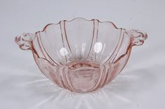 Pink Oyster & Pearl Pattern Double Handle Bowl Hocking Depression Glass