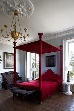 I have a red bedspread and am looking for a good wall color to go with.  original post:  paul raeside, interiors, photographer, les trois garçons, france-Reminds me of my grandmas red velvet bedspread, I loved it.