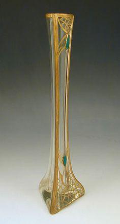 Austria, Vienna Secession, gilt and enamel glass vase, 1900