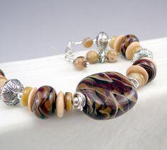 Glass Bead Bracelet Lampwork Beads Artisan Glass by TouchOfSilver