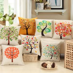 Decorative Wish heart Tree Cushions Cover Cotton Linen Throw Pillow Flamingos Case Chair Home Bedding Pillow Case Diy Pillow Covers, Diy Pillows, Decorative Pillow Covers, Sofa Pillows, Throw Pillows, Romantic Room Decoration, Cushion Embroidery, Cushion Cover Designs, Hand Painted Fabric
