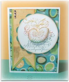 Card created by Tamytha Jenkins of paperheartist.com  Using Close To My Heart Footloose paper and Quick Card - Shell Stamp.
