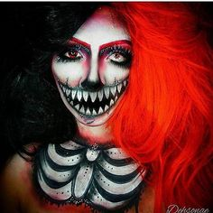 Skeleton Makeup for Halloween | Sexy And Creative DIY Looks For Halloween by Makeup Tutorials at http://makeuptutorials.com/spooky-scary-skeleton-makeup-halloween/