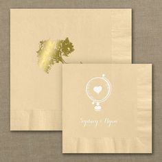 Design your own hunter green personalized wedding napkins http