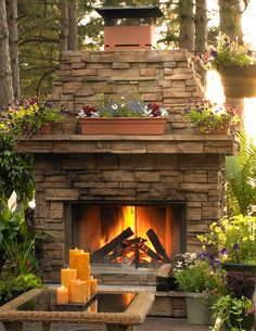 Outdoor stacked stone fireplace
