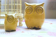 owl decor | Owl home decor in butter yellow |