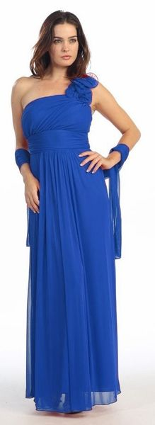 Eureka Fashion - 2005 Ruffled Shoulder Accent Asymmetrical A-Line Gown Blue Bridesmaid Gowns, Royal Blue Bridesmaids, Photos Of Dresses, Royal Blue Dresses, Fashion Now, A Line Gown, Fitted Bodice, Special Occasion Dresses, A Line Skirts