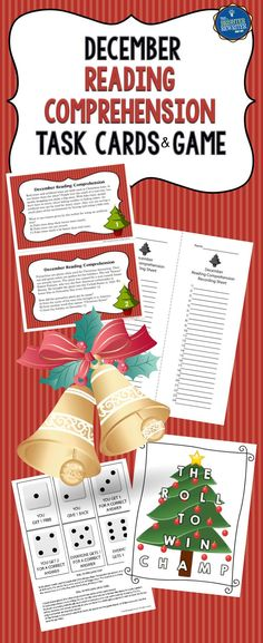 24 task cards with December, Christmas, and winter-themed informational paragraphs, a task card recording sheet, and a dice game. Among the informational text topics are Christmas trees and plants, holiday songs, building a snowman, reindeer, the North Pole, winter weather, and more. Fun!