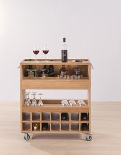 Alchemy Bar Drinks Trolley - designed by Leonhard Pfeifer. Solid oak and sliding timber serving tray