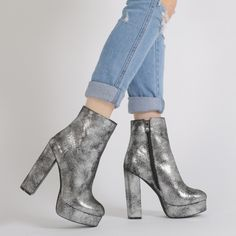 Isha Metallic Platform Ankle Boots in Silver