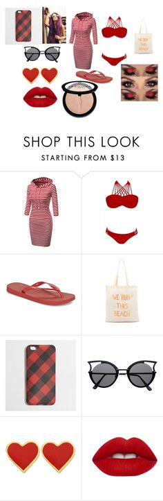 """Where's Waldo  Day At The Beach"" by alliephil ❤ liked on Polyvore featuring Havaianas, Zhuu, J.Crew, Lime Crime and Sephora Collection"