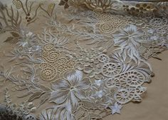 Bridal Lace Fabric Floral Lace Fabric Embroidery Lace by LaceNTrim