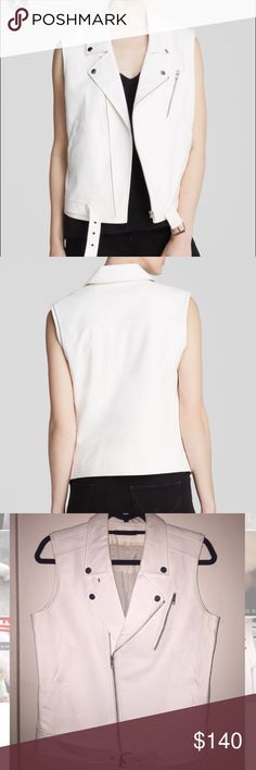 Theory Leather Moto Vest Beautiful and pristine white leather vest made by Theory. Only worn once! Perfect transition piece for spring. Theory Jackets & Coats Vests