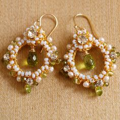 "Green Peridot Earrings / Small Gemstone, Pearl Hoops / Gold Handmade Lace / Holiday Jewelry ""Garland"""