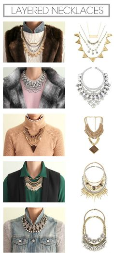 How to layer necklaces with different necklines.