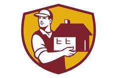 Mover Handling House Crest Retro - Illustrations Illustration of a house mover handling holding house looking to the side set inside shield crest on isolated background done in retro style. #illustration #MoverHandlingHouse