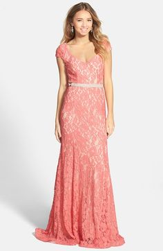 Sequin Hearts Cap Sleeve Gown (Juniors)  35eb61dc3ad6