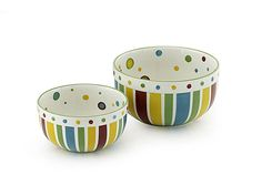 "SIMPLY SUMMER SERVING BOWLS - SET OF 2    Food just seems to taste better when served from these hand-painted stoneware bowls festooned with sassy stripes and perky polka dots. 7½ x 4""; 9¼ x 5"" Set of 2.    Retail Price Was $44.00  Item: 932810  Mega May Sale Price: $29.98"