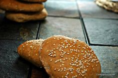 My bf loves these buns! They only last a few days in our house. I substitute hemp hearts for the sesame seeds on top. Sandwich Buns Recipe, Bun Recipe, Gluten Free Recipes, Bread Recipes, Cooking Recipes, Best Quinoa Recipes, Healthy Recipes, Quinoa Bread, Fresh Bread