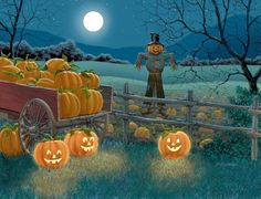 From the Leanin' Tree Holiday Card Collection: Halloween Card 18812 - Full Moon at the Pumpkin Patch Retro Halloween, Halloween Kunst, Halloween Artwork, Halloween Scene, Halloween Painting, Halloween Prints, Halloween Pictures, Halloween Wallpaper, Halloween Cards
