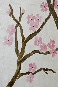 ANN SACKS Azure custom cherry tree glass mosaic (photographer: Tom McWilliam, stylist: Davison Design Lab)