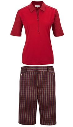 Be Inspired with this rich, bold, luxurious color and patterns! Sport Haley Ladies Golf Outfit (Shirt & Short) - Be Inspired (Cranberry & Black) #Sports #Outfit #Ladies #Fashion #Apparel #Golf #Black #Red #Cranberry