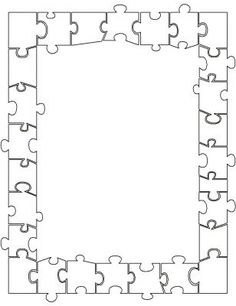 Nice border for a door display. Every kid has a puzzle piece to decorate. Page Borders Design, Border Design, Borders For Paper, Borders And Frames, Halloween Crossword Puzzles, Frame Template, Templates, Coloring Books, Coloring Pages