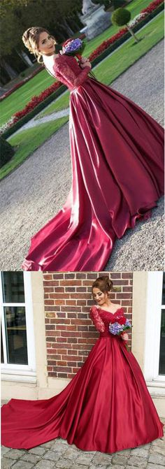 Long Sleeves Off the Shoulder Burgundy Sweetheart Satin Lace Ball Gown Prom Dresses UK PH435,#ballgown#offshoulder#burgundy#longdress#promdress#partydress#formal