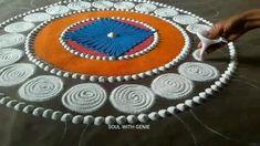 Simple Rangoli Border Designs, Henna Art Designs, Rangoli Designs Flower, Free Hand Rangoli Design, Small Rangoli Design, Colorful Rangoli Designs, Rangoli Designs Diwali, Rangoli Colours, Rangoli Patterns