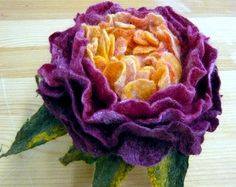 Purple-yellow peony. Merino wool brooch.Wet felting.