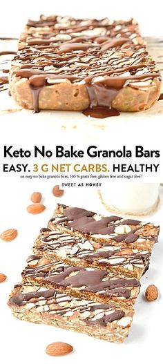 No Bake Granola Bars, Keto Granola, Healthy Granola Bars, No Bake Bars, Low Carb Granola Bars Recipe, Low Carb Bars, Healthy Bars, Desserts Sains, Comida Keto