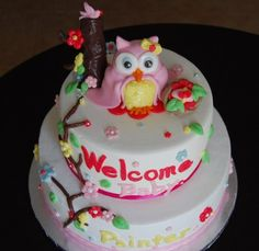 Baby+Shower+Cakes+For+Girls | Owl themed Baby shower cake for a girl - Sweet Blessings...