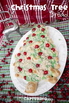 This Christmas Tree Bread recipe is a wonderful treat to make for your family or friends this holiday season. Use the dough of your choosing, and decorate with marachino cherries and green glaze.