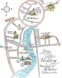 Illustrated Map: Finalist in DIY Wedding Craft Contest with Martha Stewart Wedding and Etsy How to show second campus