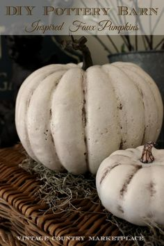 DIY Pottery Barn Inspired Pumpkins - Using Dollar Store Pumpkins! In love with white pumpkins. Can't wait to try this. Faux Pumpkins, White Pumpkins, Painted Pumpkins, Plastic Pumpkins, Glass Pumpkins, Autumn Decorating, Pumpkin Decorating, Decorating Ideas, Pottery Barn Inspired