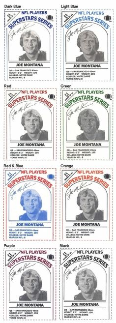 Joe Montana 1986 DairyPak Cartons (Assorted Colors) (Blank Back)