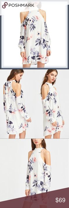 🆕 Halter Neck Floral Cold Shoulder Shift Dress ➖SIZE: Small, Medium,  Large , XL/ 1X  ➖STYLE: A white Floral high neck Shift dress with a cold shoulder design.   ❌NO TRADE   435808 Dresses