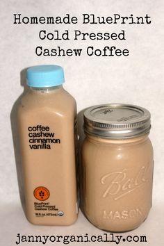 Homemade BluePrint Organic Cold Pressed Cashew Coffee by Janny Organically. Juice Smoothie, Smoothie Drinks, Smoothie Recipes, Vitamix Juice, Fruit Smoothies, Yummy Drinks, Healthy Drinks, Blueprint Coffee, Blueprint Juice