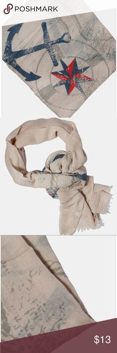 Beige Nautical Scarf Lightweight rectangle scarf featuring large anchor, rope and compass design and frayed edges. An incredibly soft and comfy piece that is lightweight enough to add to your casual spring outfits!  33% Cotton, 67% Polyester  • Offers Welcome • Bundle Discounts  • Suggested User • Fast Shipper Accessories Scarves & Wraps