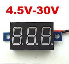 Image result for DC 2.5-30V Red Panel Voltage Meter 3-Digital Display Voltmeter