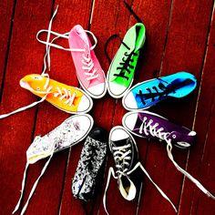My Chucks! Neon orange, neon pink, lime, neon aqua, purple, black, black toes w/ skulls and white / skulls. YES, I have worn all of them!!!