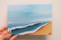 Mini Paintings, Seascape Paintings, Waves On The Beach, Beach Scene Painting, Photo Letters, Acrylic Artwork, Mini Canvas Art, Canvas Board, Beach Scenes