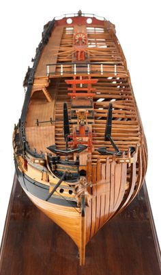 This is a very neat model,one side is finished but the other half you can see how this is being built. Model Sailing Ships, Old Sailing Ships, Model Ships, Wooden Model Boats, Lego Ship, Concept Ships, Wooden Ship, Maritime Museum, Submarines