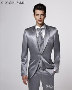 Custom Made Groom Tuxedos,Silver Party Suit Wedding Party Suit Groomsman Suit Boys SuitJacket+Pants+Tie+VestBridegroom Suit C91 Mens Formal Clothes Mens Prom Suit From Xuelaier, $98.44| Dhgate.Com