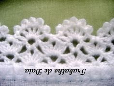 Crochet lace edging, 2 rows staggered shells & V's; flowers                                                                                                                                                      More